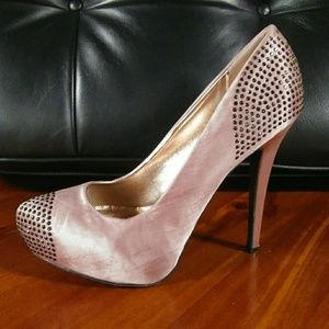 Liliana | Studded Satin Platform Heels Warm Pink